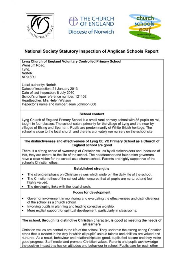 thumbnail of Lyng Church School Inspection Report 2013