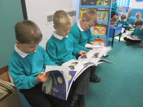 Children enjoying our new library